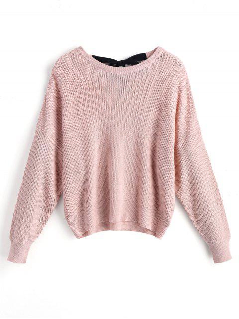 Drop hombro arco empate suéter de gran tamaño - Rosado L Mobile