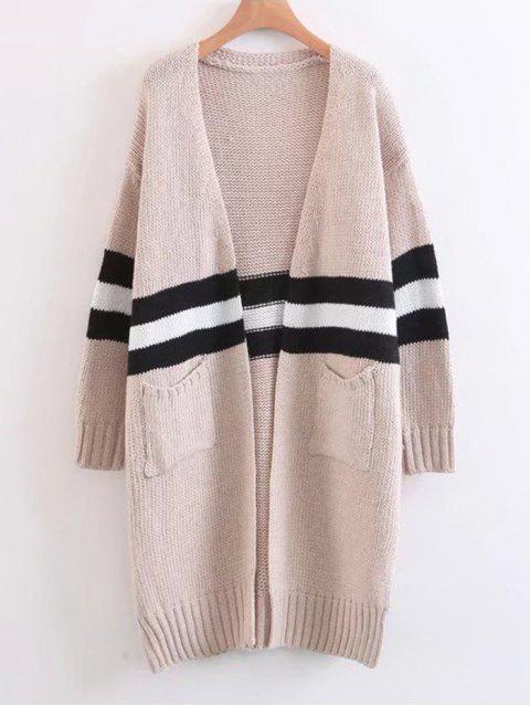 Chaqueta de lana con rayas en contraste - Albaricoque Única Talla Mobile