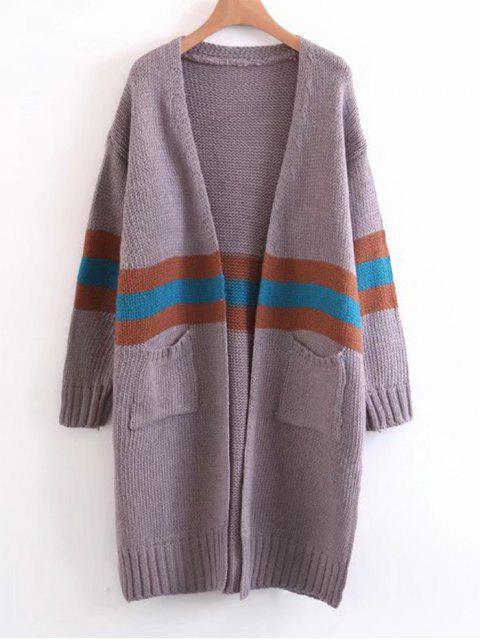Chaqueta de lana con rayas en contraste - Púrpura Única Talla Mobile