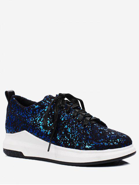trendy Sequined Low Heel Sneakers - BLUE 39 Mobile