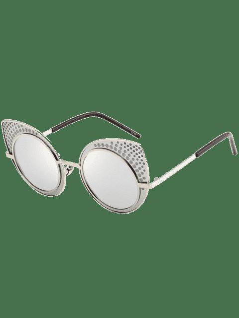 Anti UV Rhinestone Embellecido gafas de sol gato - Plata  Mobile