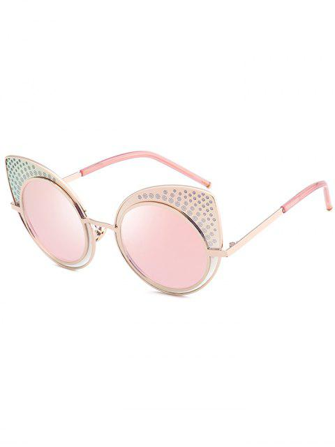 Anti UV Rhinestone Embellecido gafas de sol gato - Papaya  Mobile