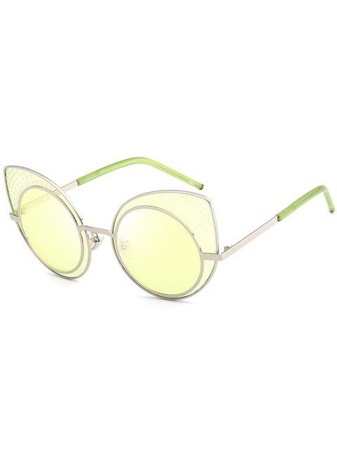 Anti UV Rhinestone Embellished Cat Eye Lunettes de soleil - Jaune  Mobile