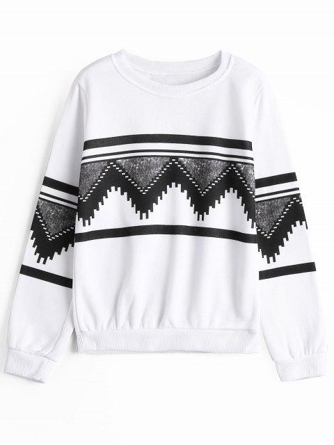 Geometrisches Sweatshirt mit Rundhalsausschnitt und Grafik - Weiß S Mobile