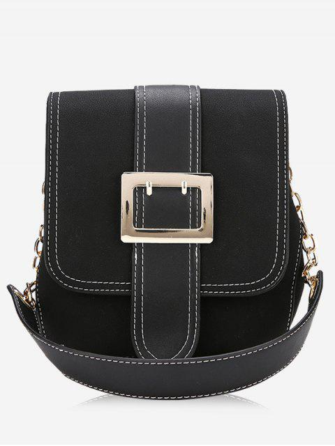 online Buckle Strap Stitching Shoulder Bag - BLACK  Mobile