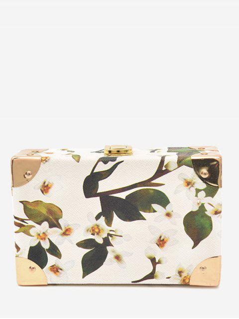 shop Flower Metal Corner Print Crossbody Bag - WHITE  Mobile