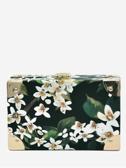 fashion Flower Metal Corner Print Crossbody Bag - BLACK  Mobile