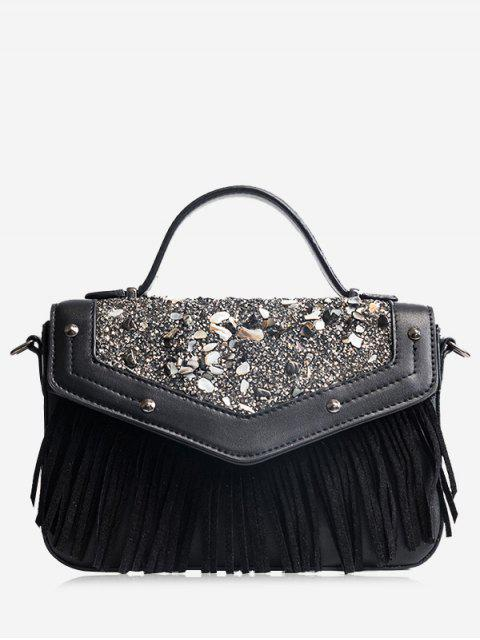 ladies Fringe Stone Pattern Rivet Corssbody Bag - BLACK  Mobile