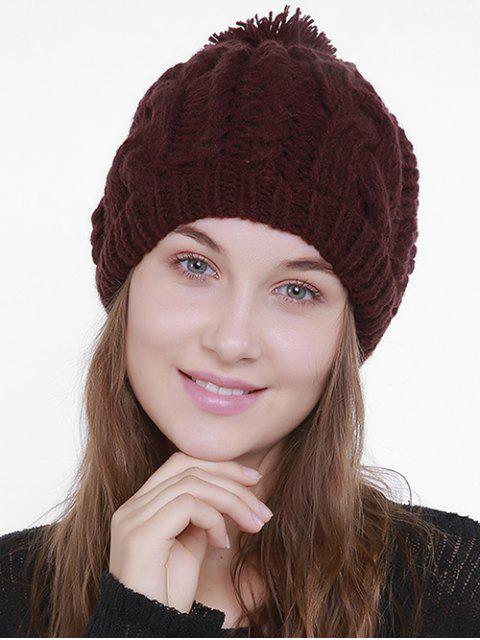 Chapeau simple en tricot Knit Pom - Rouge Foncé  Mobile