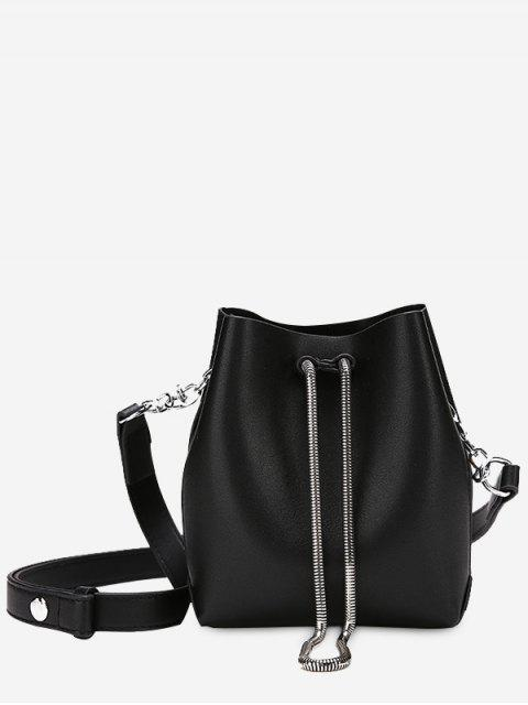 Faux Leder Kette Crossbody Set - Schwarz  Mobile