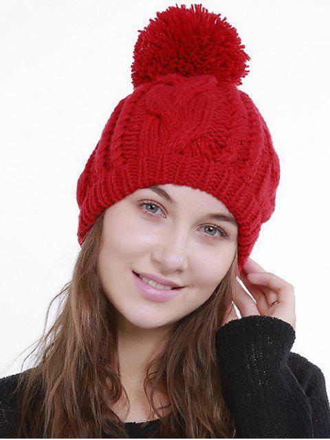 Bonnet Chunky Tricoté avec Pompon - Rouge  Mobile