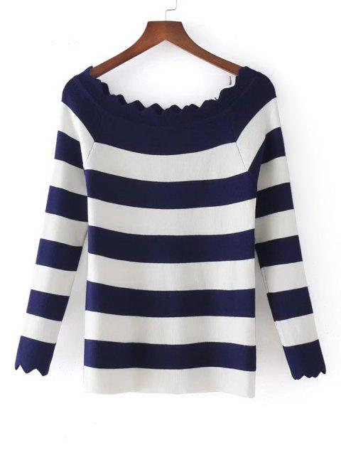 Stripes Scalloped Off Shoulder Tricots - Bleu Violet TAILLE MOYENNE Mobile