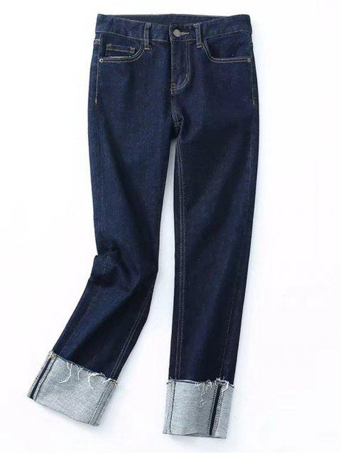 fashion Skinny Rolled Cuff Frayed Pencil Jeans - DENIM BLUE M Mobile