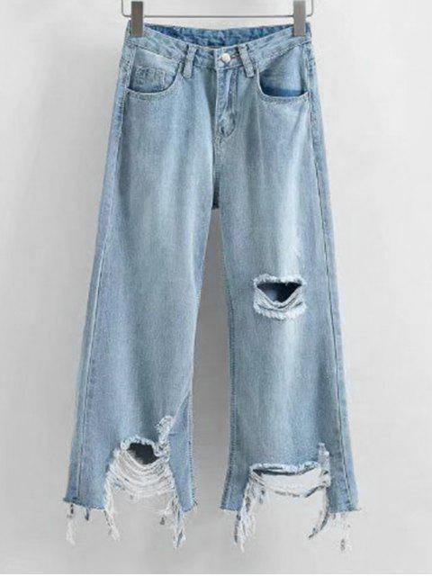 Frayed Hem Distressed Wide Leg Jeans - Hellblau L Mobile