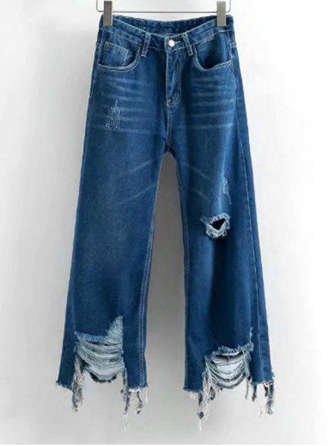 shops Frayed Hem Distressed Wide Leg Jeans - DEEP BLUE M Mobile