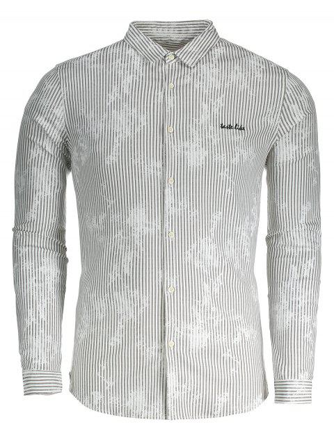 Camisa de tela a rayas para hombre - Gris XL Mobile