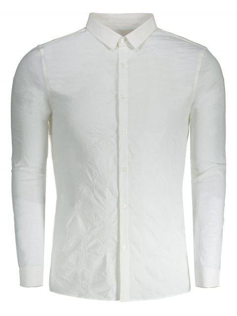 Crinkly botón arriba de la camisa - Blanco 3XL Mobile