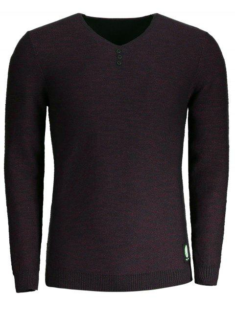 outfits V Neck Heathered Sweater - CLARET 3XL Mobile