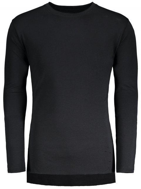 Beunruhigtes hohes niedriges Hem Longline T-Shirt - Schwarz M Mobile