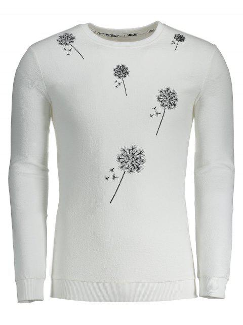 affordable Dandelion Embroidered Sweatshirt - WHITE XL Mobile