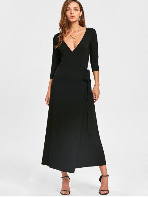 trendy Plunging Neck Mid-calf Wrap Dress - BLACK L Mobile