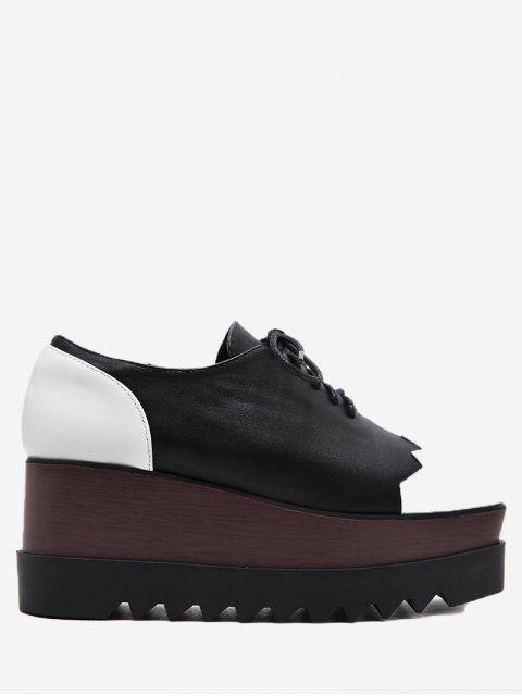Zapatos de cuña de bloque de color de cuero de falso - Negro 34 Mobile