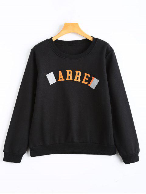 hot Fleece Arrel Graphic Crew Neck Sweatshirt - BLACK S Mobile