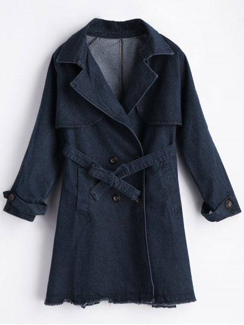 new Frayed Hem Lapel Bridge Denim Coat - BLUE L Mobile
