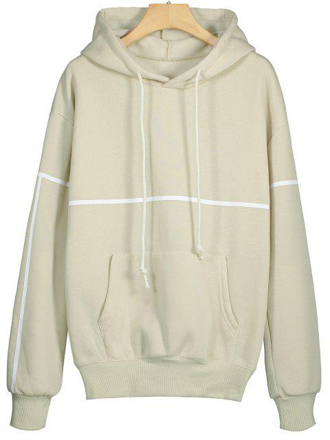 lady Front Pocket Striped Drawstring Hoodie - BEIGE S Mobile