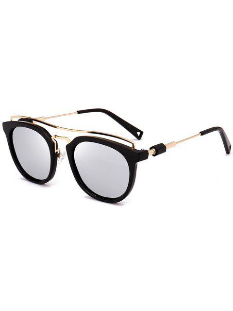 Metallic Full Frame Crossbar Sonnenbrille - silber  Mobile
