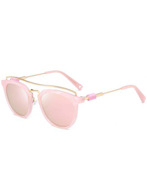 Metallic Full Frame Crossbar Sonnenbrille - Rosa  Mobile