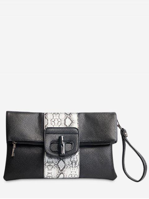 trendy Print Color Block Clutch Bag - BLACK  Mobile