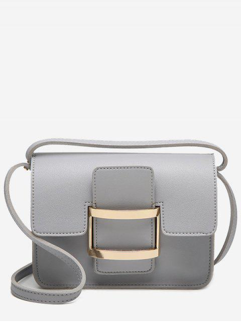 Metal Detail Buckle Strap Crossbody Bag - gris  Mobile