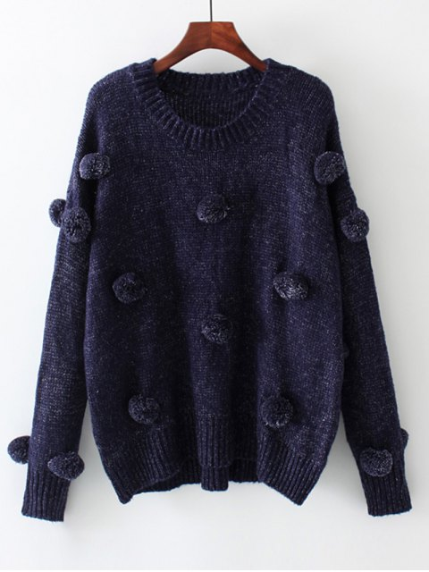 women's Oversized Balls Applique Sweater - PURPLISH BLUE S Mobile