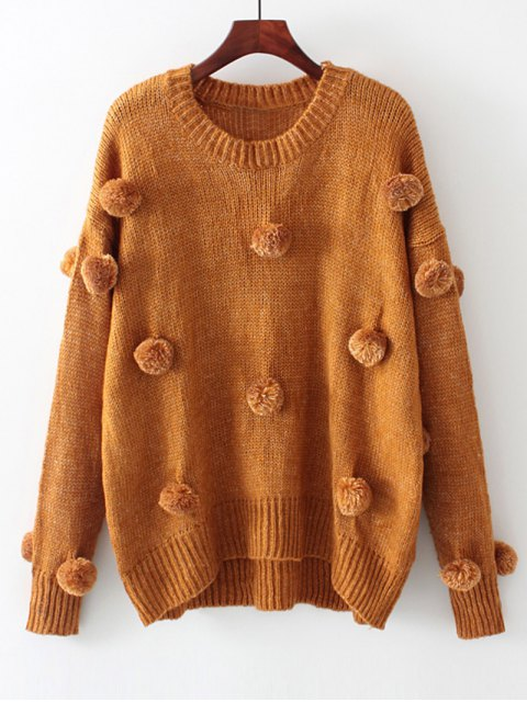 hot Oversized Balls Applique Sweater - LIGHT COFFEE S Mobile