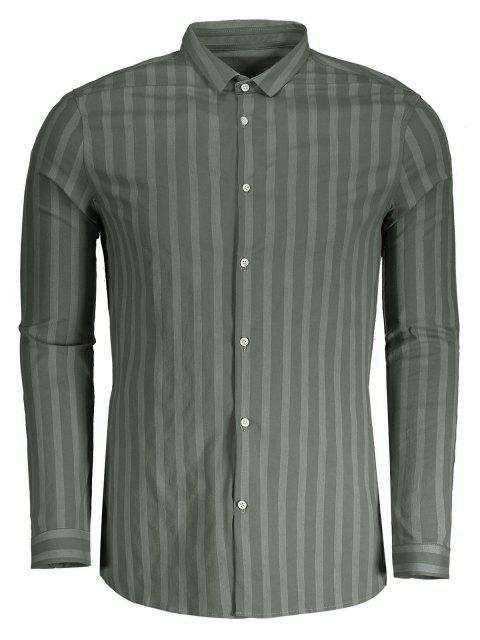 latest Button Up Mens Stripe Shirt - GREEN XL Mobile