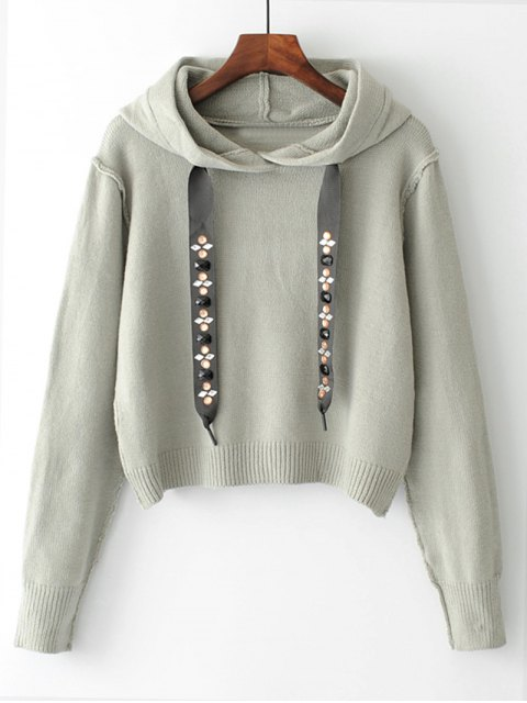 trendy Diamanted Cords Hooded Cropped Sweater - GRAY M Mobile