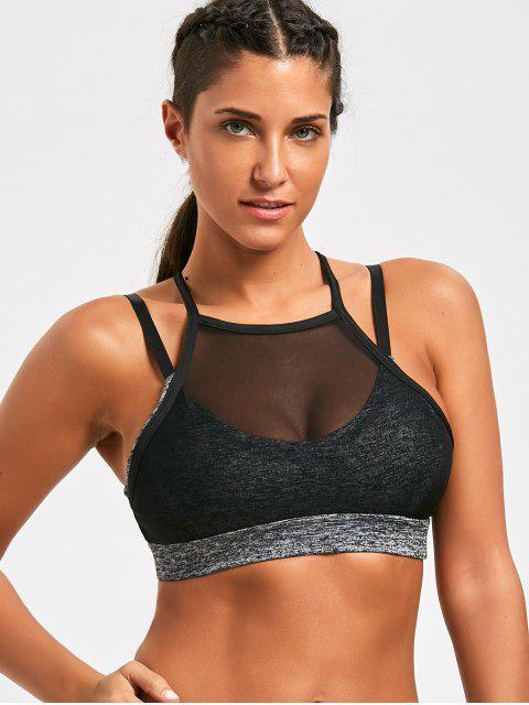 fashion Mesh Tube Sports Strappy  Bra - GRAY L Mobile