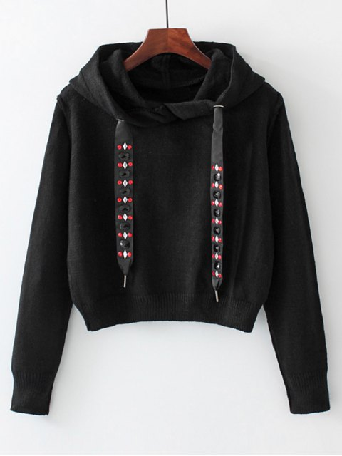women Diamanted Cords Hooded Cropped Sweater - BLACK S Mobile