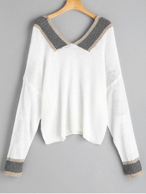 Tricot Oversize Contrastant à Encolure V - Blanc Taille Unique Mobile