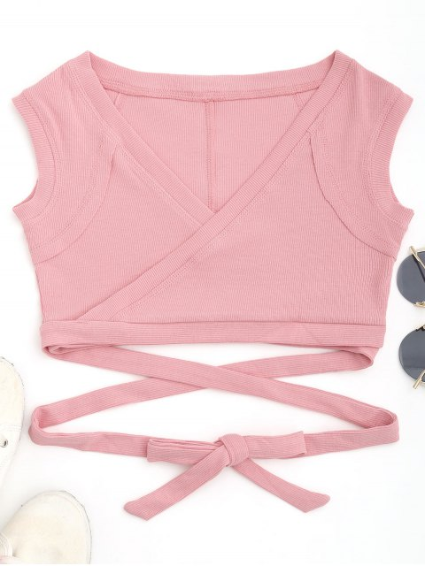 hot Cropped Ribbed Wrap Top - SHALLOW PINK S Mobile