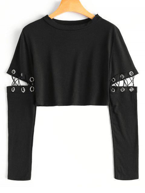 T-shirt Court Col Rond avec Manches Découpées et en Lacets - Noir XL Mobile