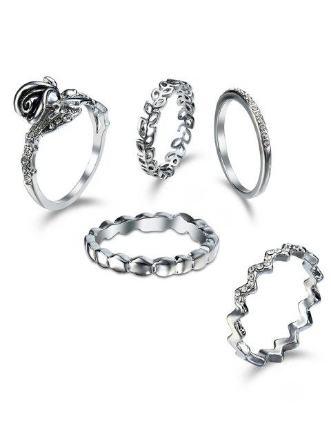 Rhinestoned Leaf Circle Finger Ring Set - silber  Mobile