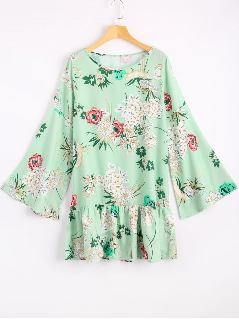 Robe Courte Imprimée à Fleurs à Manches évasées - LIGHT GREEN XL Mobile