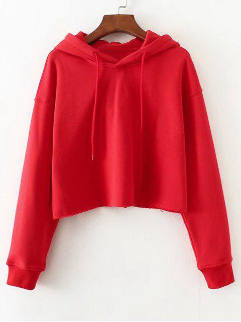 Casual Hoodie mit  Drop Schulter und ausgefranstem Saum - Rot M Mobile