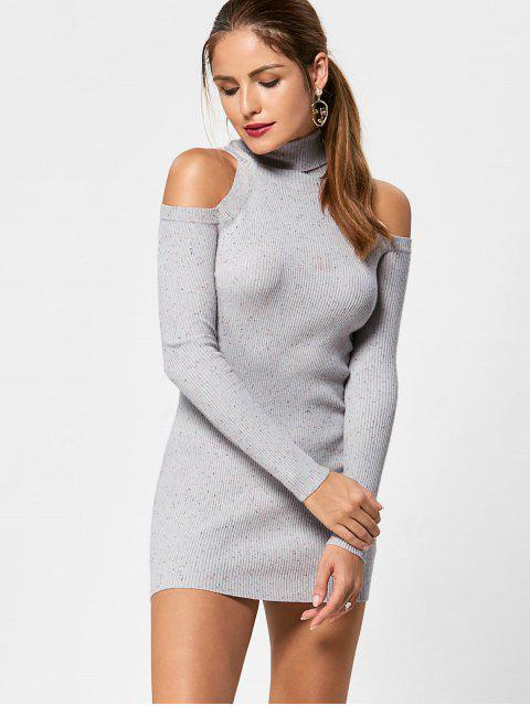 women Turtleneck Cold Shoulder Jumper Dress - LIGHT GREY XL Mobile