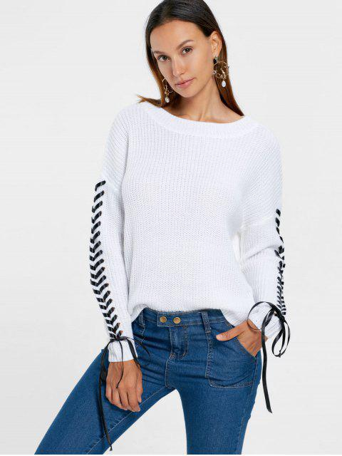 Drop Shoulder Lace Up Chunky Suéter - Blanco S Mobile