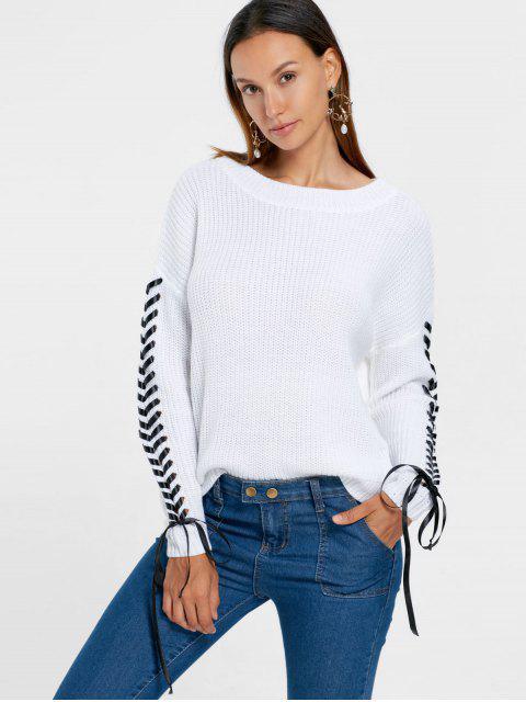 Drop Shoulder Lace Up Chunky Suéter - Blanco S Mobile