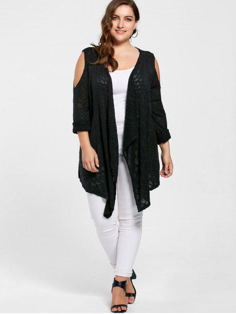 women Plus Size Cold Shoulder Cardigan - BLACK 3XL Mobile
