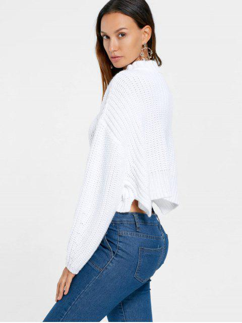 outfits Batwing Sleeve Crop Sweater - WHITE XL Mobile